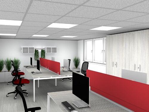Postazione di coworking in stile contemporaneo con sedute e pannelli divisori in rosso